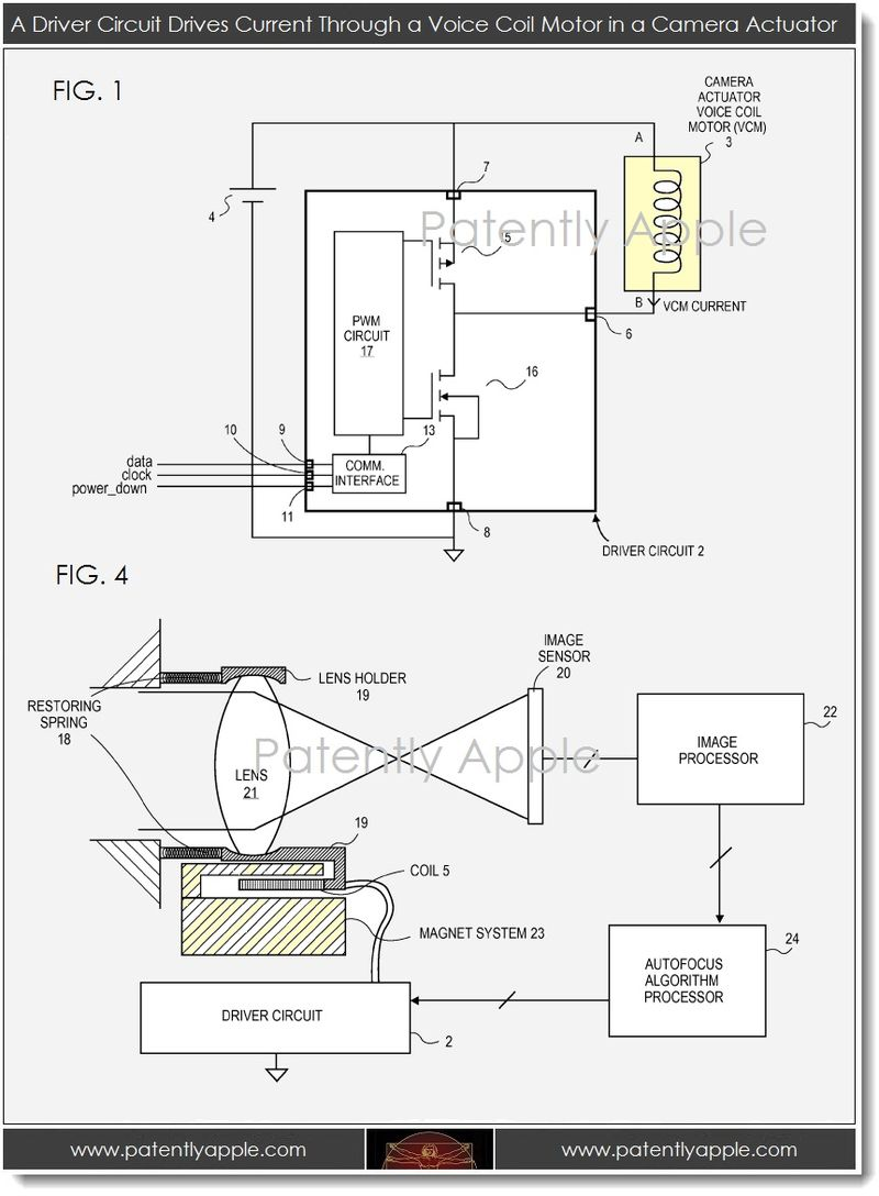 2. voice coil motor in a camera actuator, Apple patent