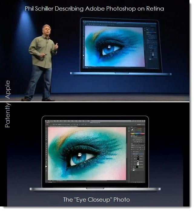 4. Phil Schiller June 2012 WWDC presentation Shows Eye Closeup Photo in Context with Adobe Photoshop