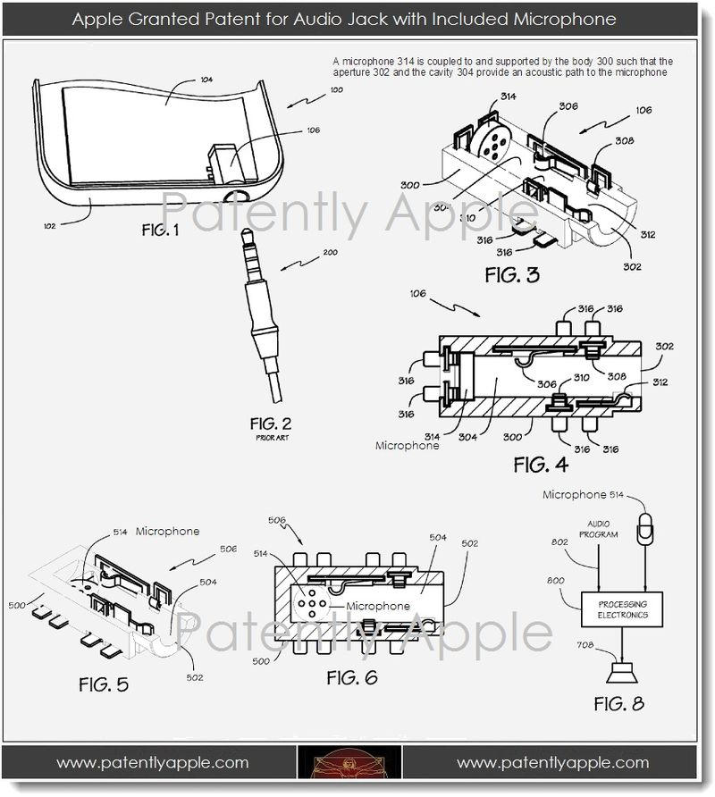 3. Apple granted patent for audio jack with included microphone