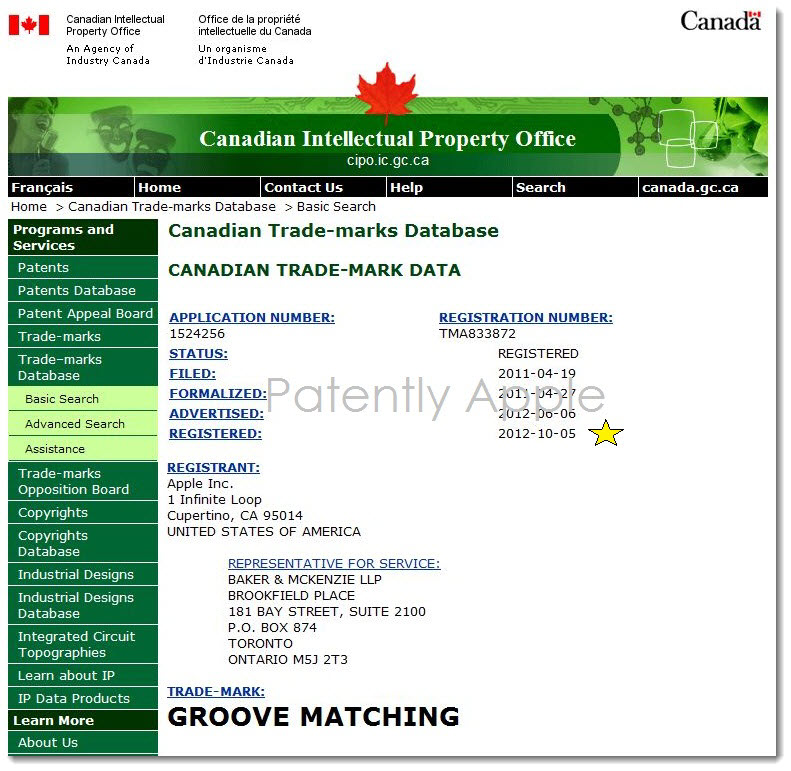 6. Apple's Groove Matching is a Registered Trademark in Canada