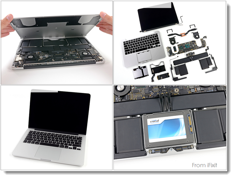 5. iFixit Breakdown collage re MacBook Pro 13 inch Retina