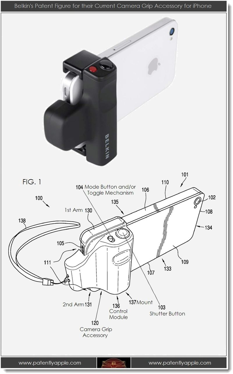4. Belkin's patent figure for their current camera grip accessory for iPhone