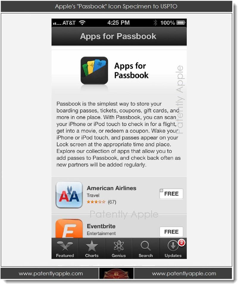 3. Apple's Passbook Icon Specimen to USPTO