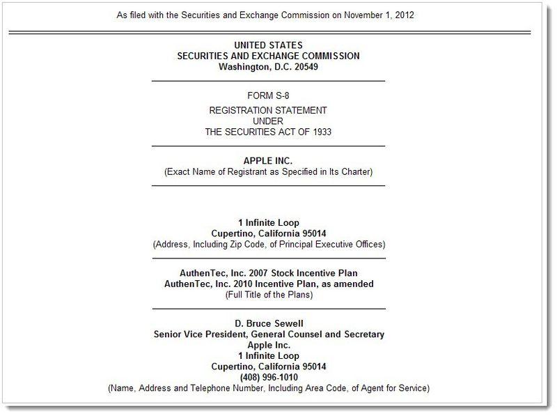 2A. SEC FORM S-8 Apple Nov 2012