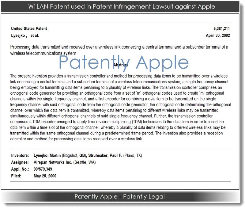 2. Wi-LAN Patent used in Patent Infringement Lawsuit against Apple