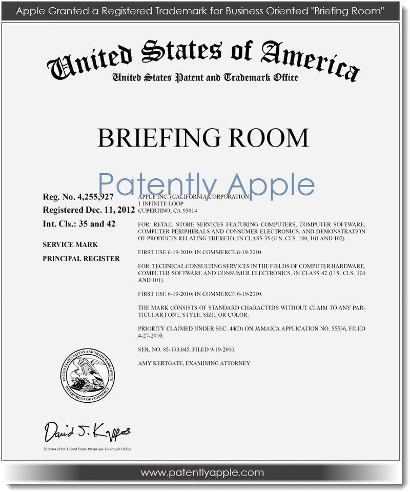 2. Apple granted Registered TM for - Briefing Room