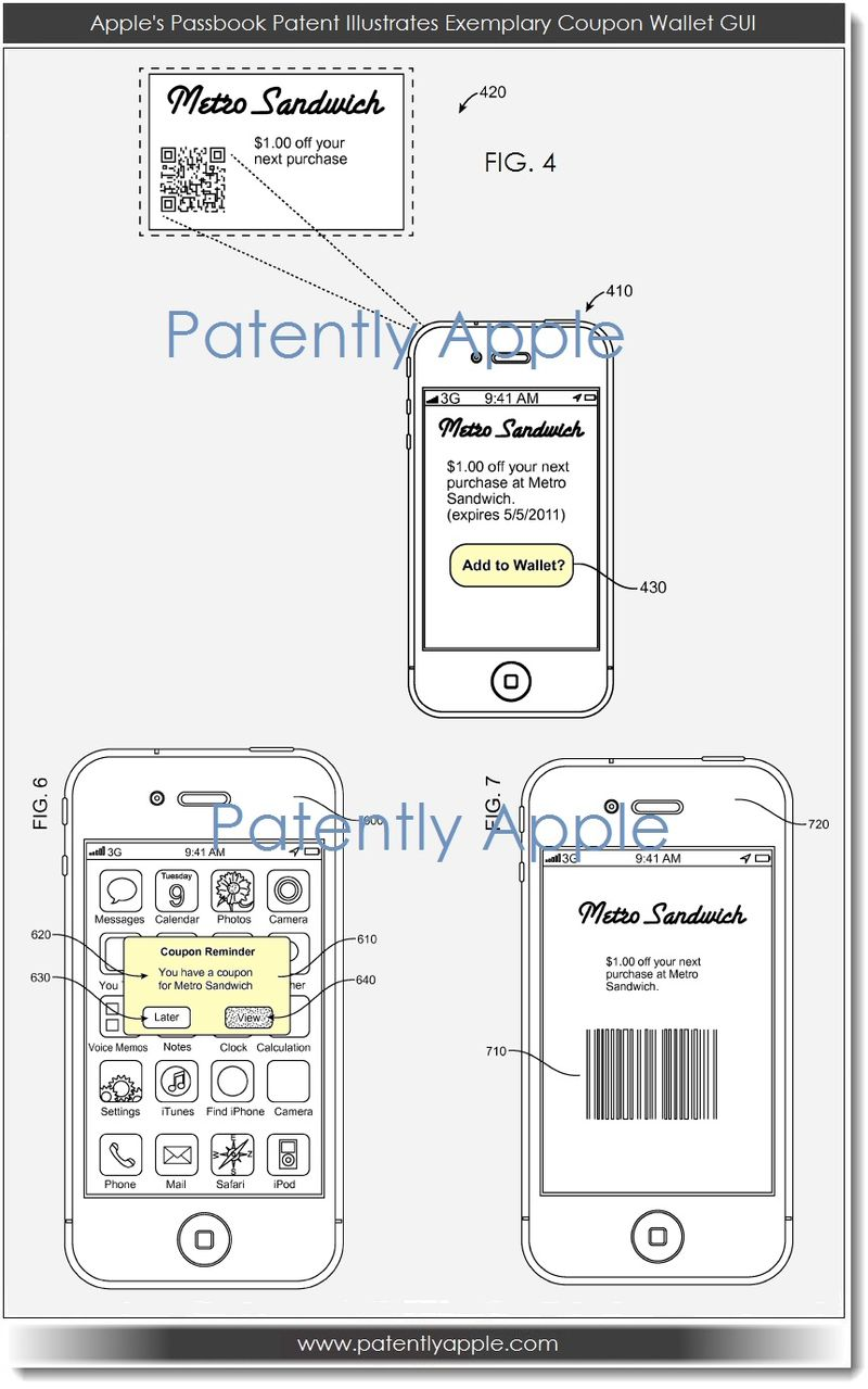 2. Apple's Passbook Patent - exemplary coupon wallet GUI