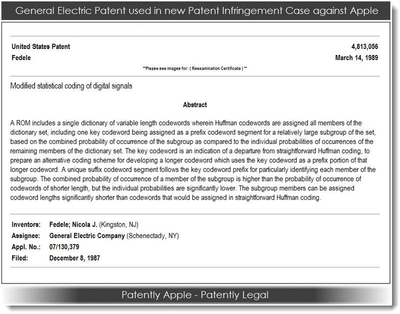 2. GE Patent used in new patent infringement case against Apple