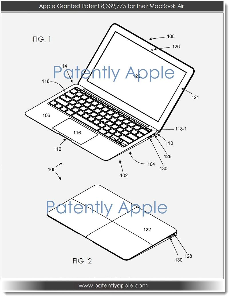 2. Apple granted patent 8,339,775 for their MacBook Air