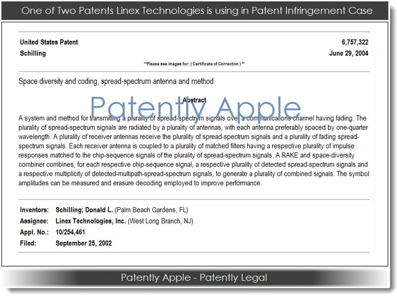 2. Linex patent used in an infringement case aganist Apple Jan 2013