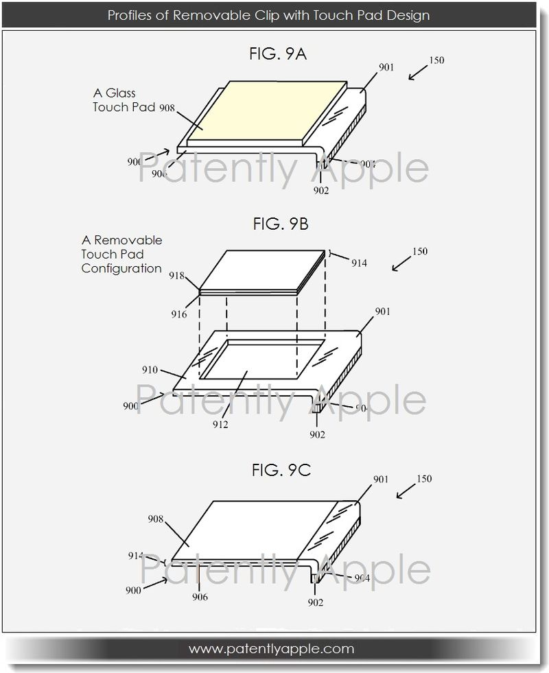4A. Profiles of Removable Clip with Touch Pad Design
