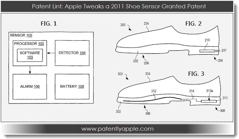 1. Patent Lint - Apple Tweaks a 2011 Shoe Sensor Granted Patent