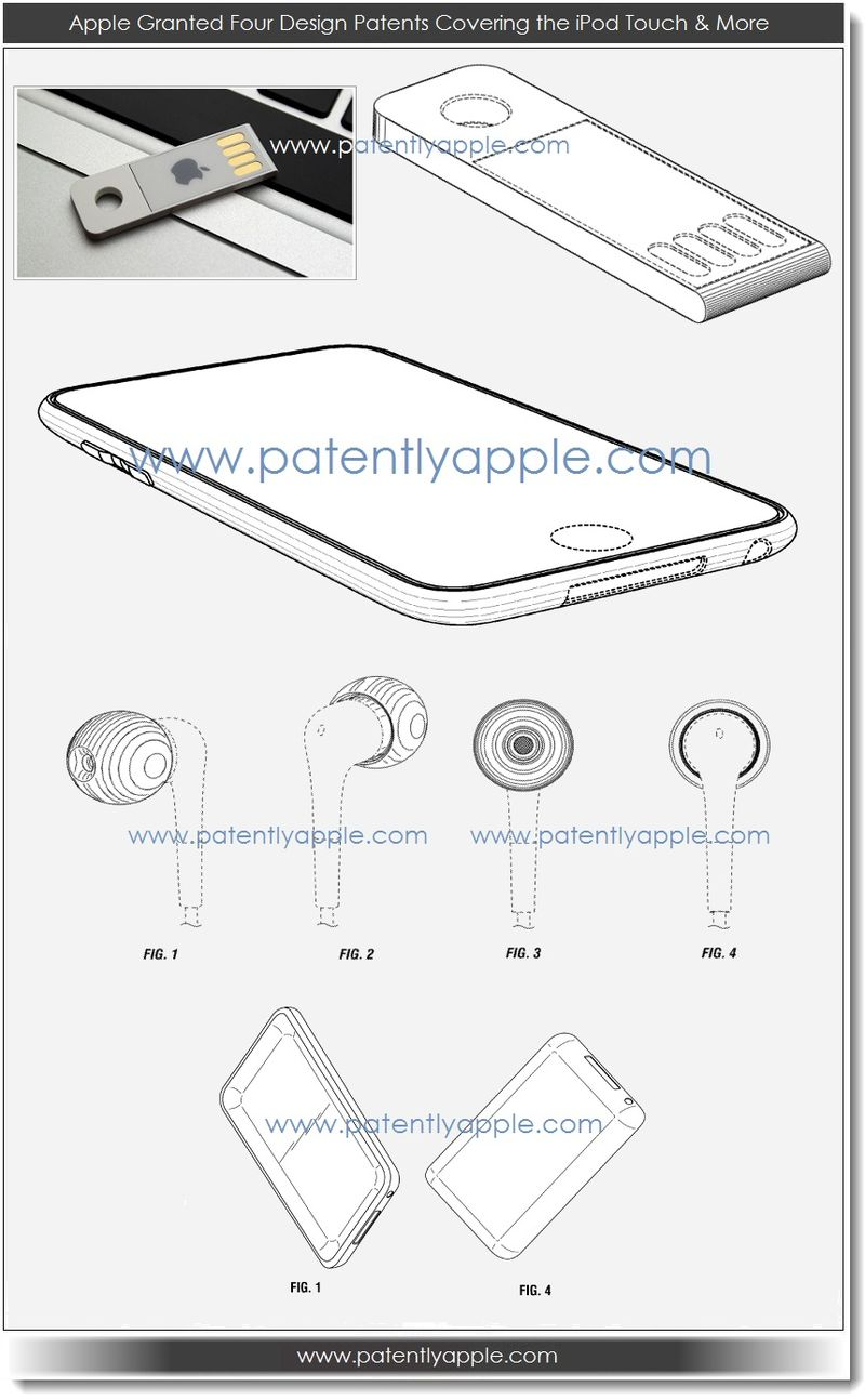 2. Apple granted four design patents covering the iPod touch and more
