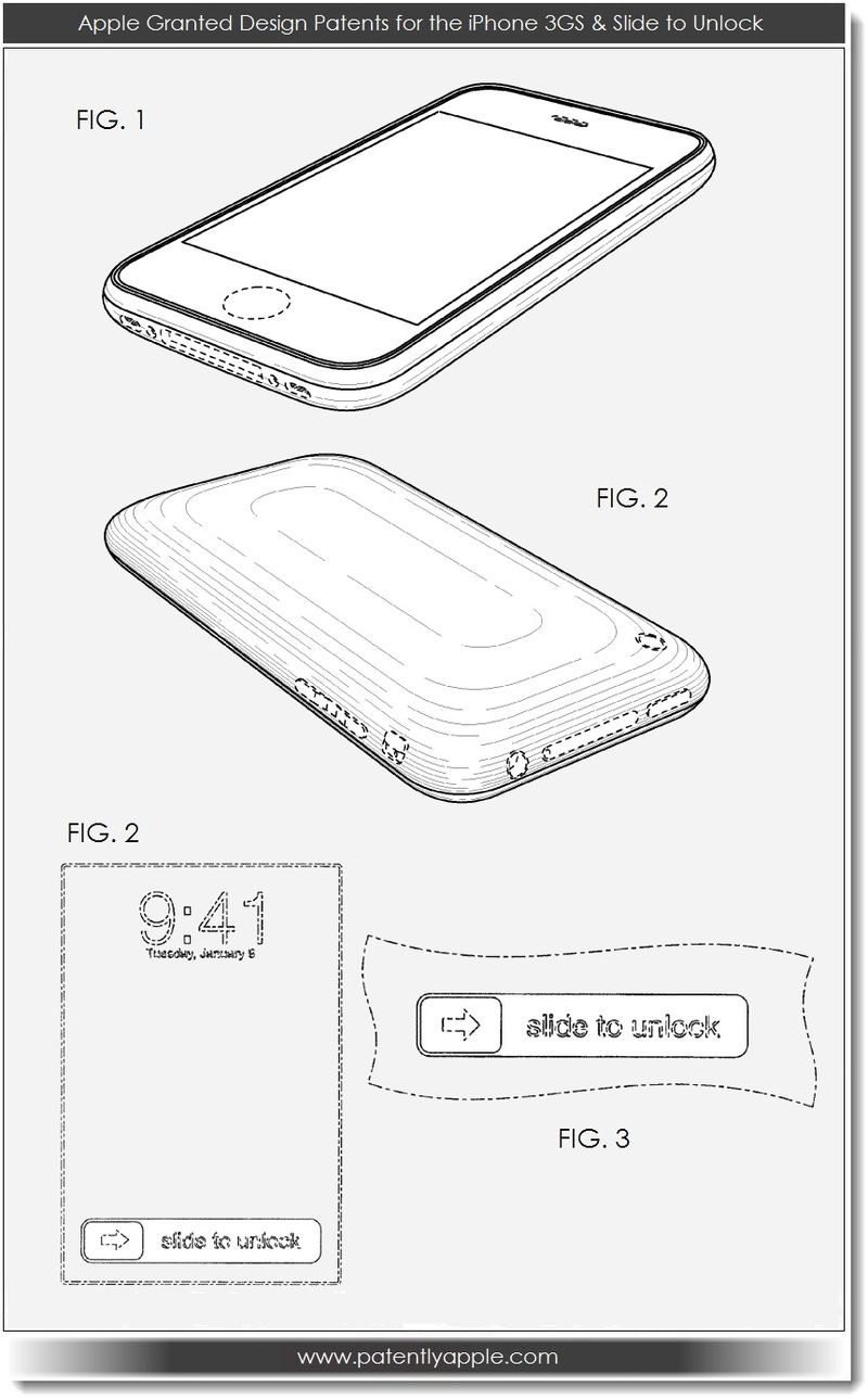 2. Apple Granted Design Patents for the iPhone 3GS & Slide to Unlock