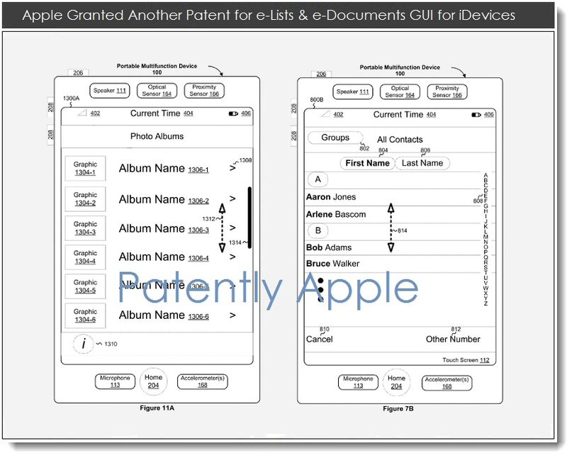 4. Apple Granted Patent for e-Lists & e-Documents GUI for iDevices