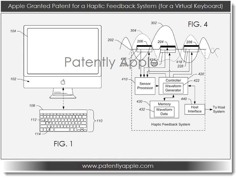 4. Apple granted patent for haptic feedback system - for virtual keyboard