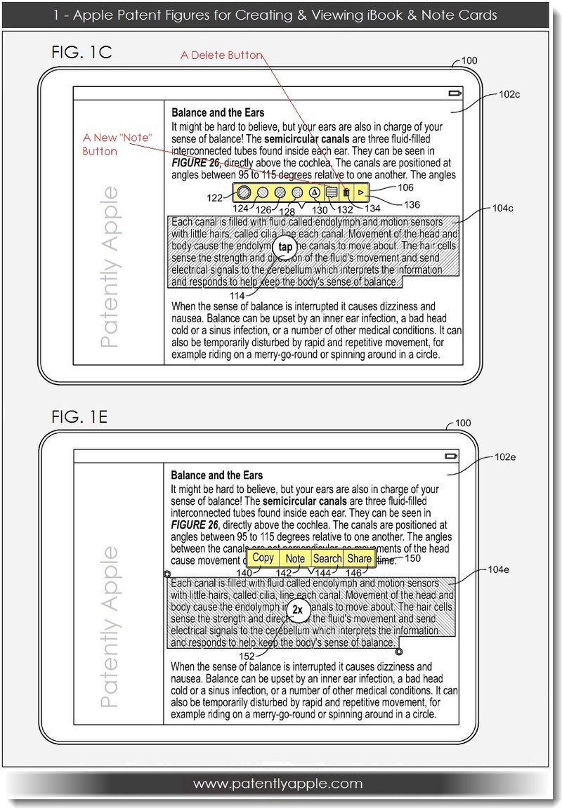 2. Apple, Patent FIGS for Creating, Viewing iBook & Note Cards