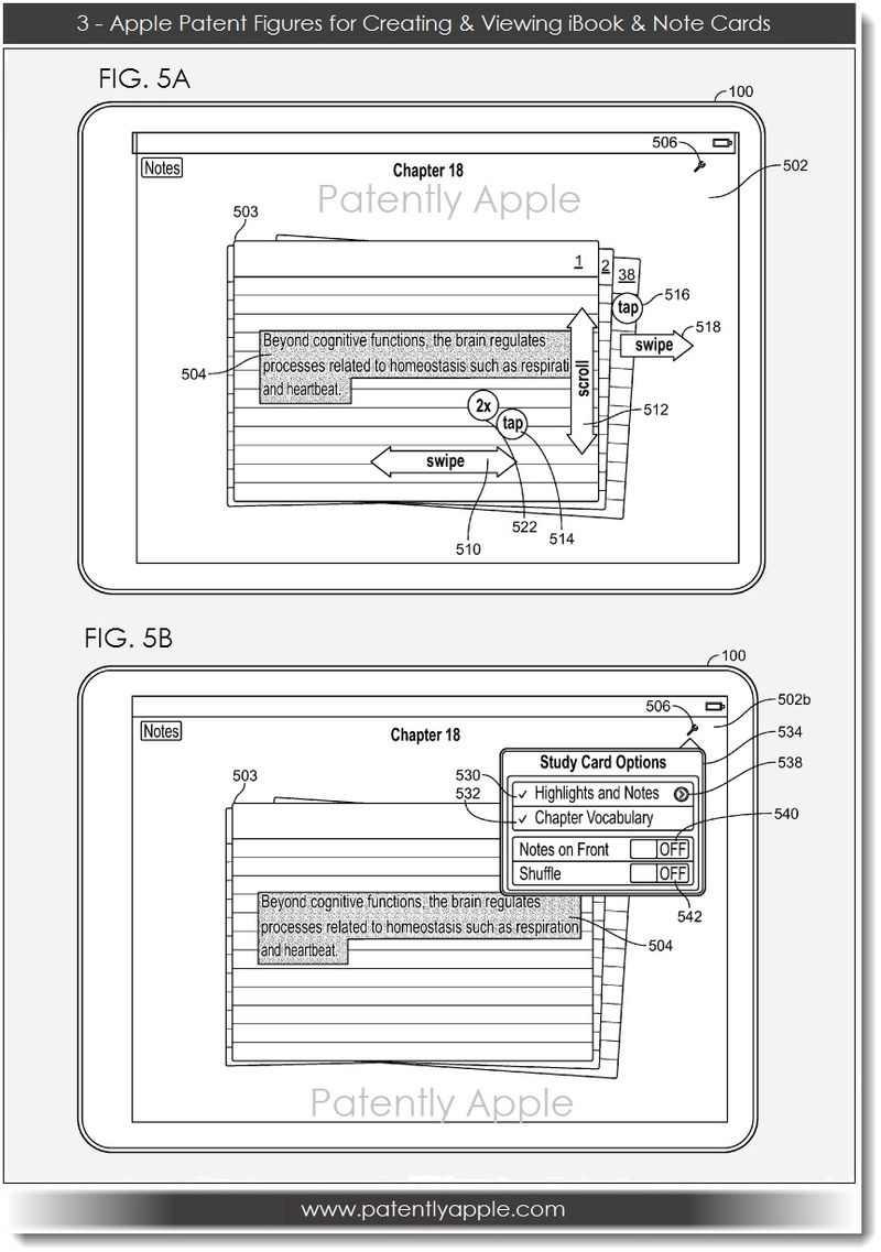 4. Apple, Patent FIGS for Creating, Viewing iBook & Note Cards