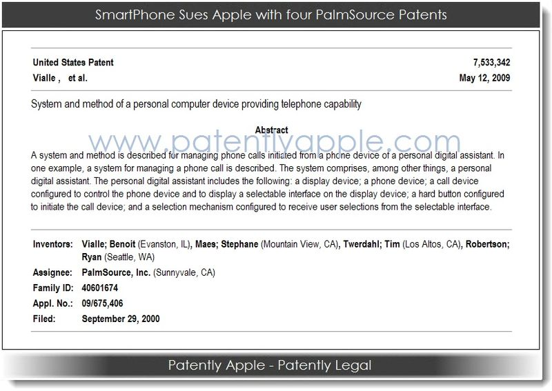 2. Smartphone sues Apple with 4 new PalmSource Patents