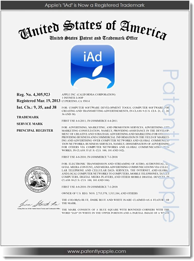 2. Apple's iAd is now a registered TM Mar 20, 2013