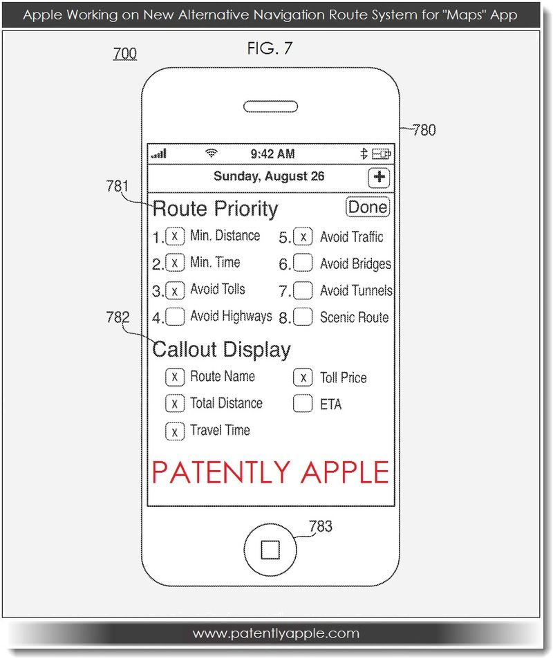2. Apple patent, alternative navigation route system for Maps App