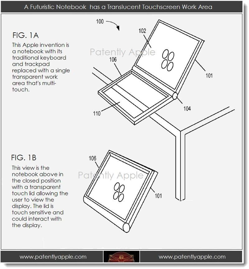 2A. A futuristic notebook has a translucent touchscreen work area