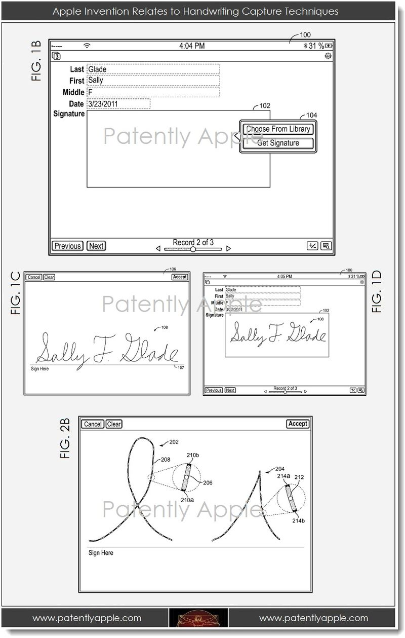 3A. handwriting capture techniques - Apple patent