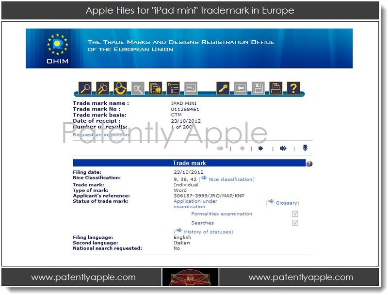 2. Apple files for iPad mini TM in Europe