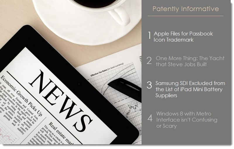 1. 4 headlines, Apple files for Passbook icon TM, Steve Jobs' Yacht, Samsung loses Apple's battery Business +