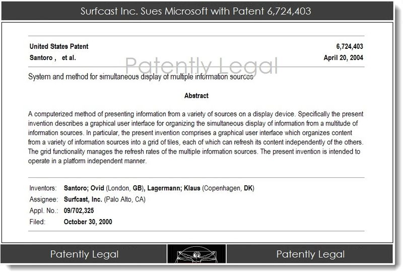 2AA. Surfcast sues Microsoft with Patent 6,724,403