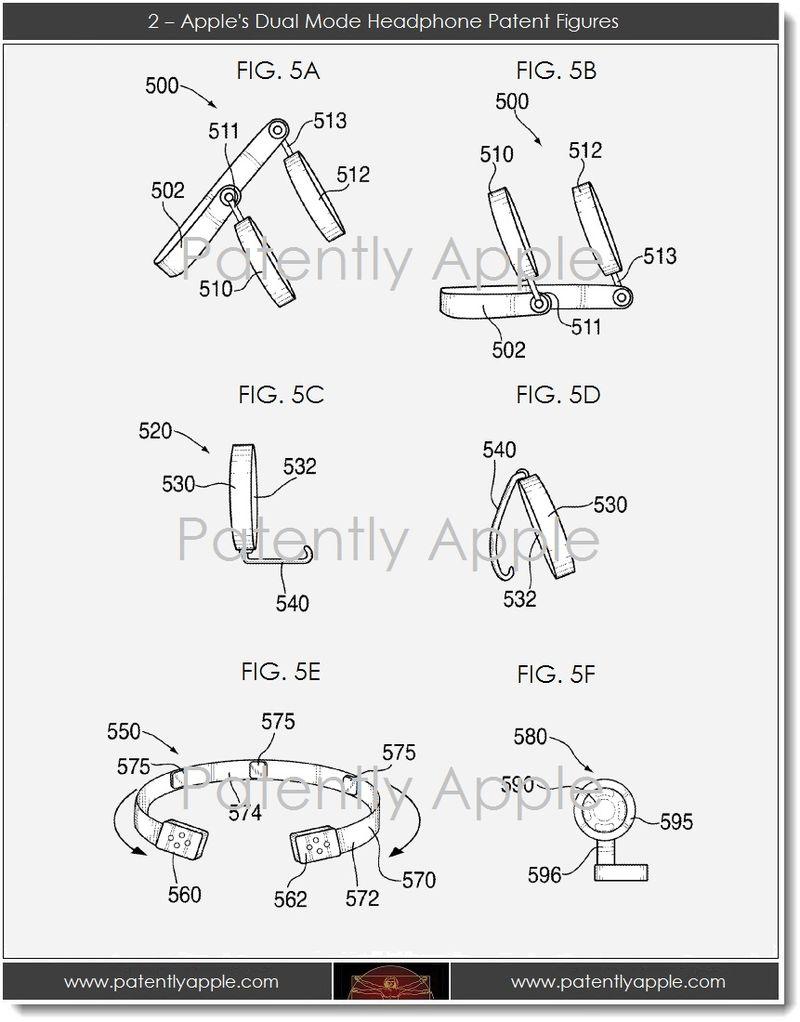 3. 2 - Apple's dual mode headphone patent figures