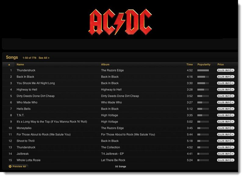 2 AC DC On iTunes Partial Image