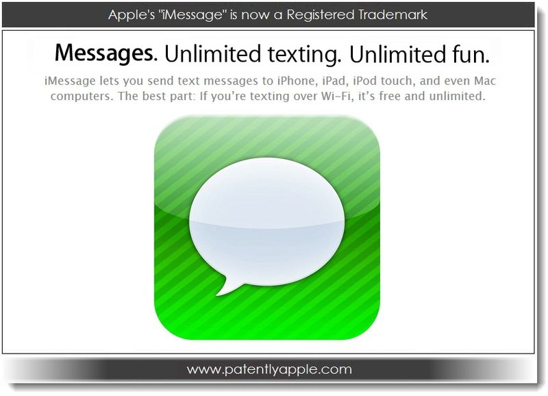 1.1 Apple's iMessage is now a Registered Trademark