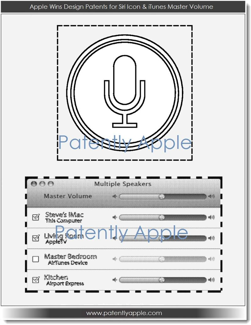 5. Apple wins design patents for Siri icon & iTunes master volume
