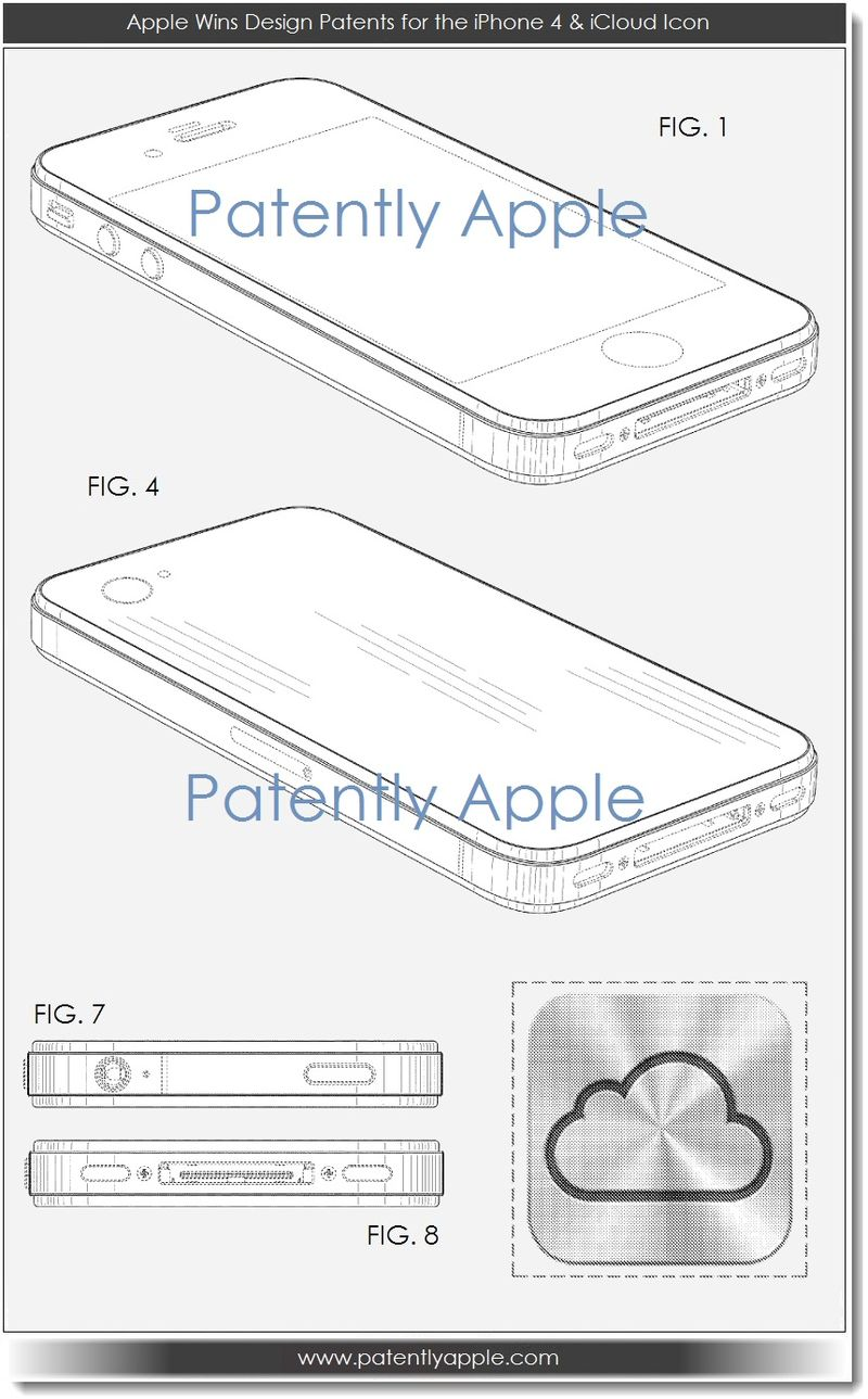 2 - Apple Wins Design Patents for the iPhone 4 & iCloud Icon