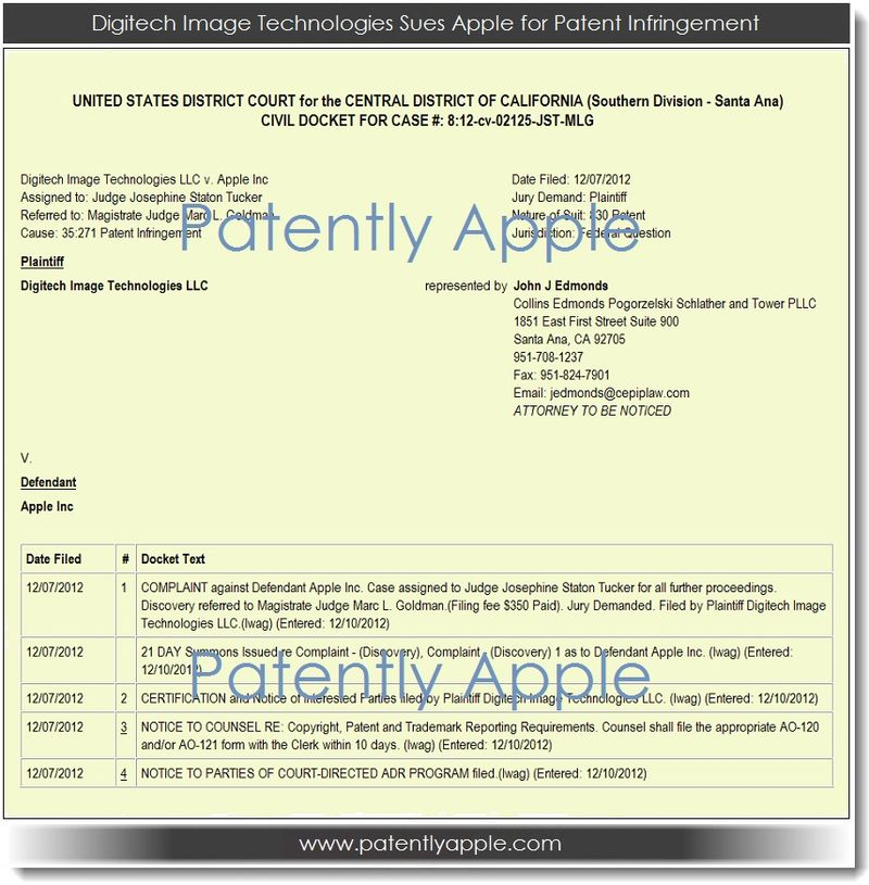 2. Digitech Image Technologies sues Apple for Patent Infringement