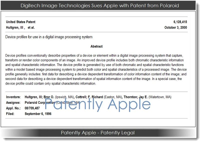 3. Digitech Image Technologies Sues Apple with Patent from Polaroid