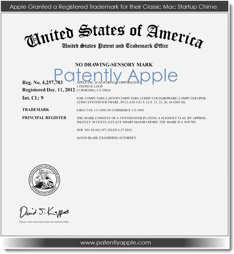 2. Apple Granted a Registered Trademark for their Classic Mac Startup Chime