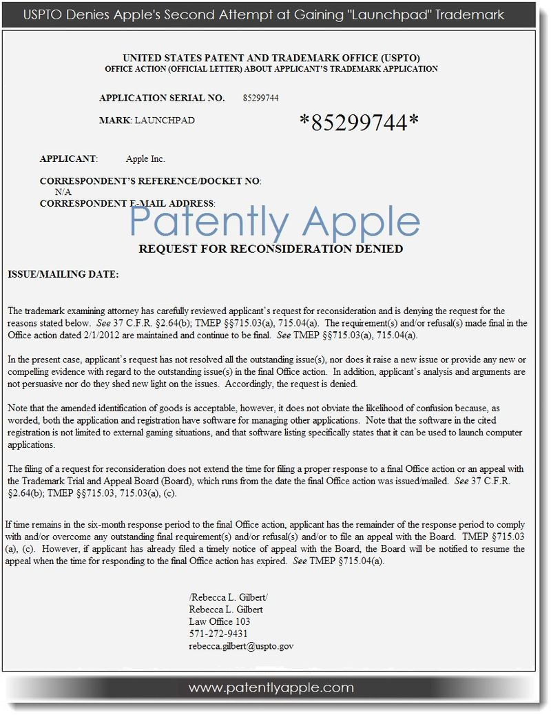 2. USPTO denies Apple's 2nd attempt at gaining Lauchpad TM
