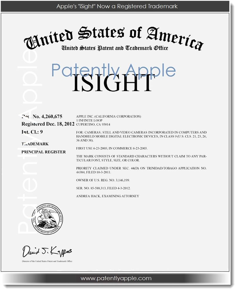 2. Apple's iSight Now a Registered Trademark