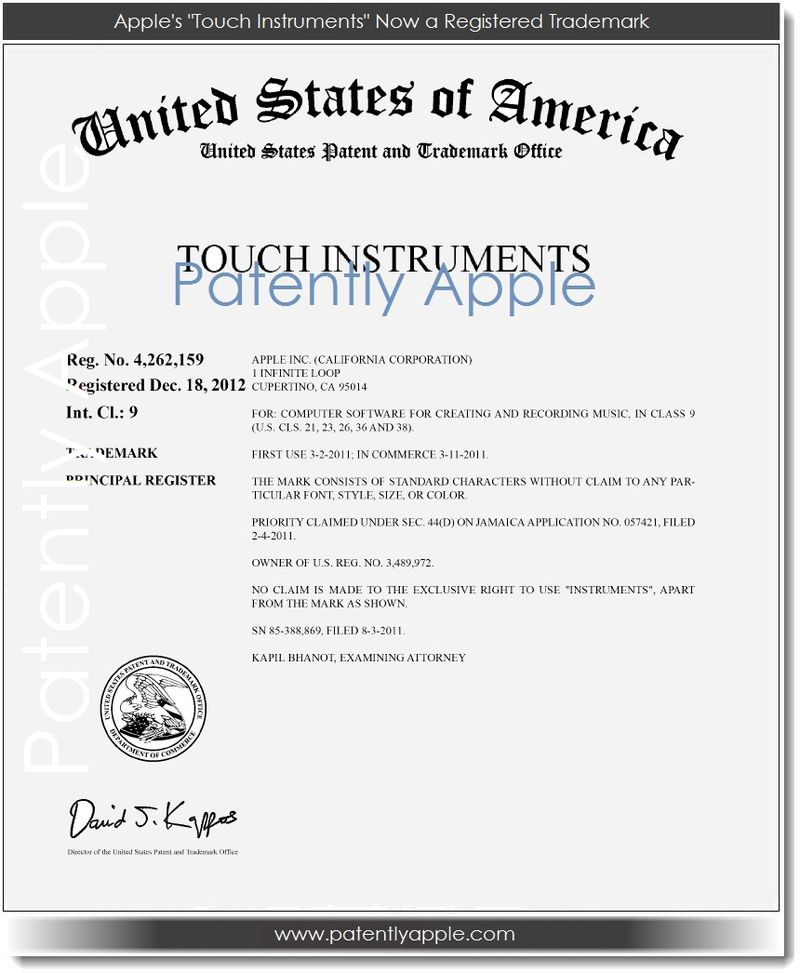 3. Apple's Touch Instruments Now a Registered Trademark