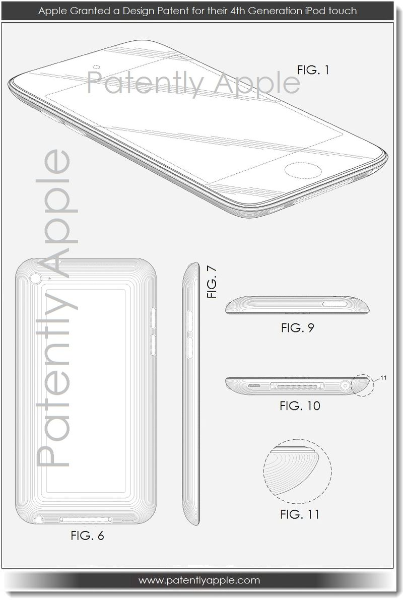 5. Apple Granted a design patent for their 4th gen iPod touch
