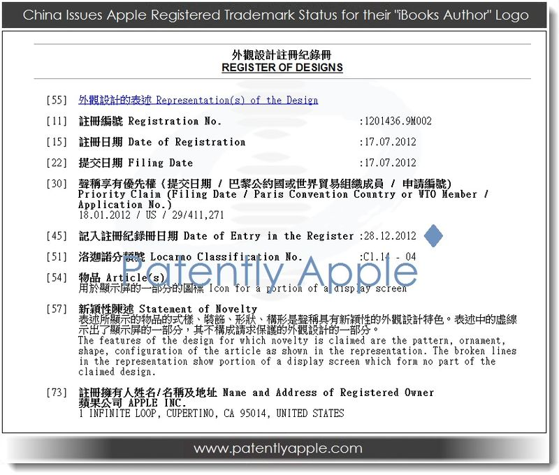 2. China Issues Apple Registered Trademark Status for their iBooks Author logo Q4 2012