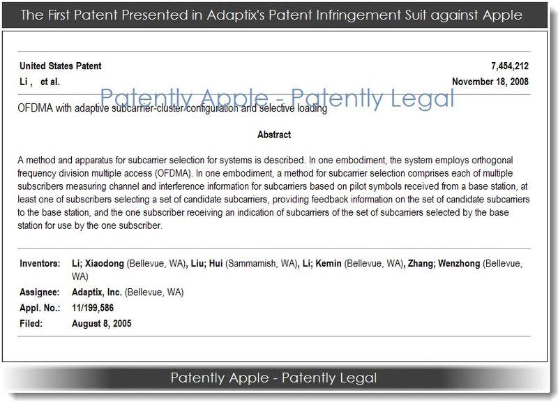2. 1st adaptix patent in lawsuit against Apple - 2013 Jan