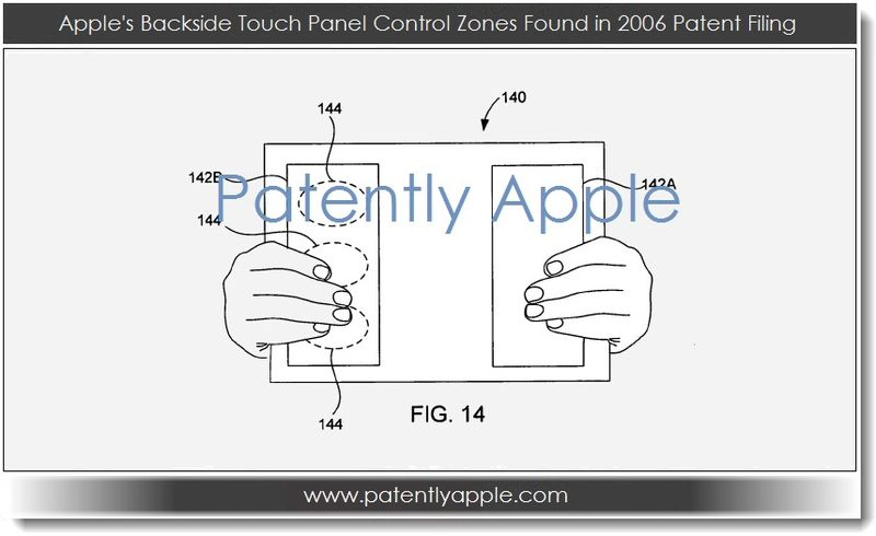 2. Apple's backside touch panel control zones found in 2006 patent filing