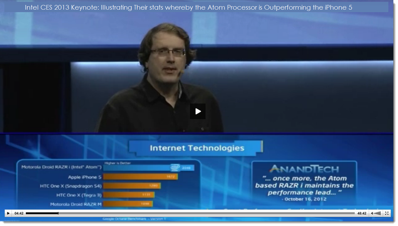 19. Intel, presents stats with Atom  Moto phone outperforming iPhone 5