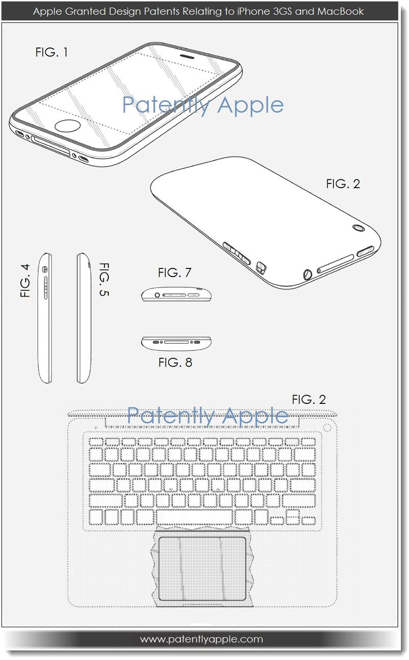 2. Apple granted design patents relating to iPhone 3GS and MacBook