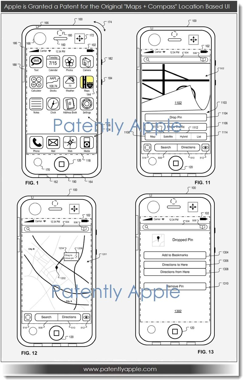 4. Apple Granted patent for originial maps + compass UI