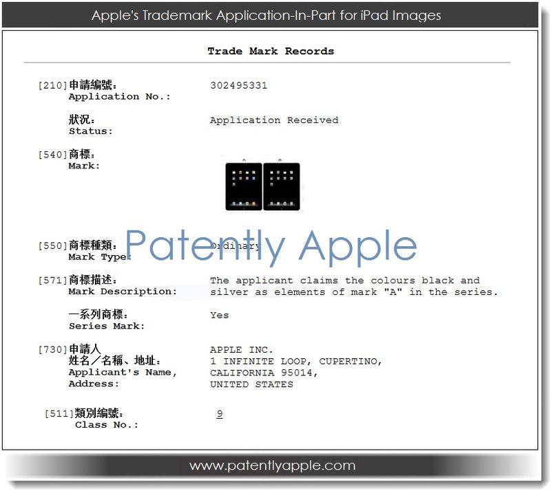 2. Apple's TM application-in-part for iPad images