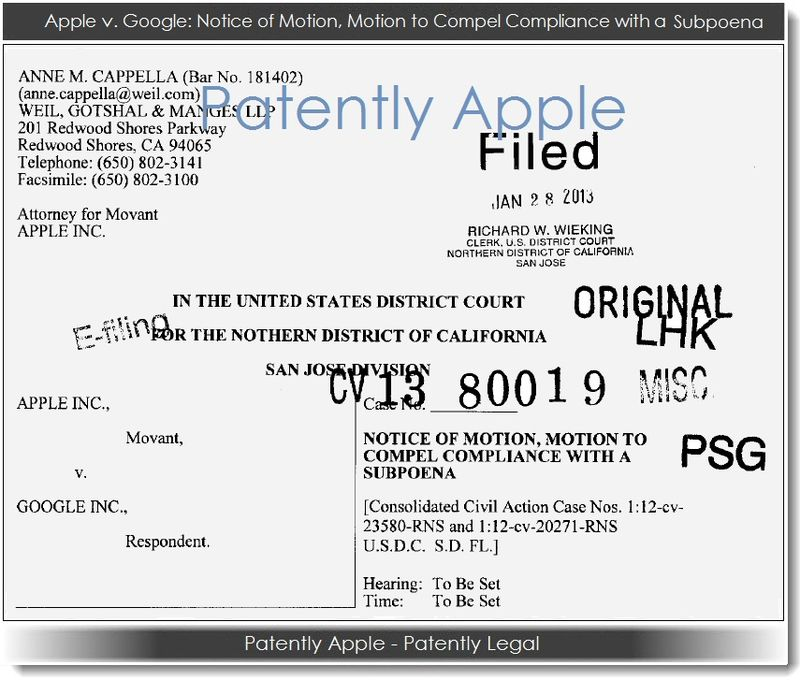 Apple v Google Notic of Motion, Motion to Compel Compliance with a Subpoena
